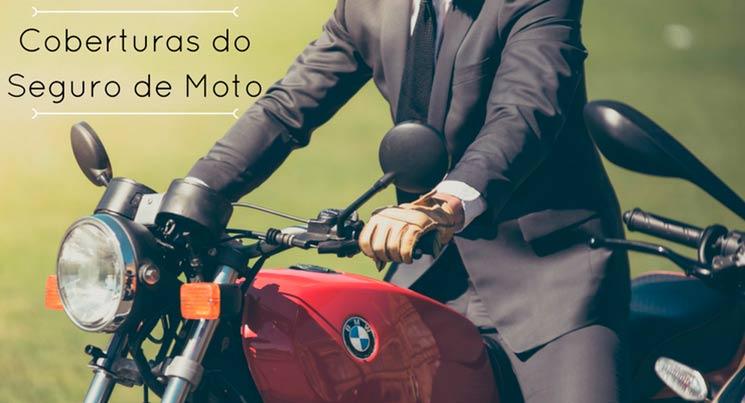 Imagem de uma moto da BMW vermelha com um homem de terno em cima. Descrição na imagem: coberturas do seguro de moto
