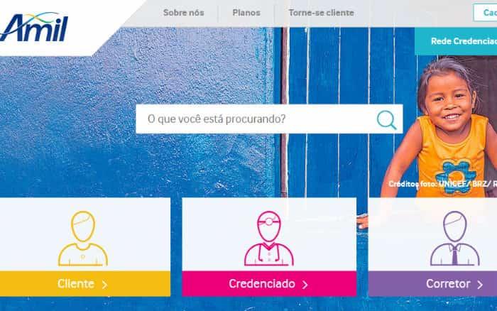 site amil representando os planos de saúde Amil