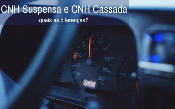 Imagem do volante de carro com o texto: CNH Suspensa e CNH Cassada quais as diferenças?