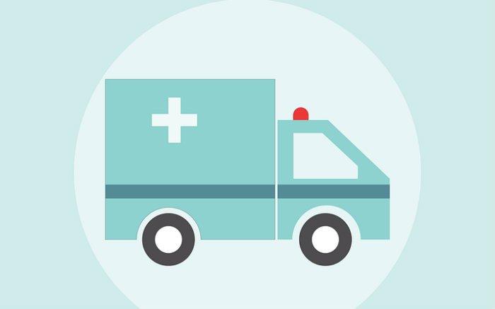 Desenho de ambulância para ilustrar texto sobre hospitais que atendem Unimed em São Paulo